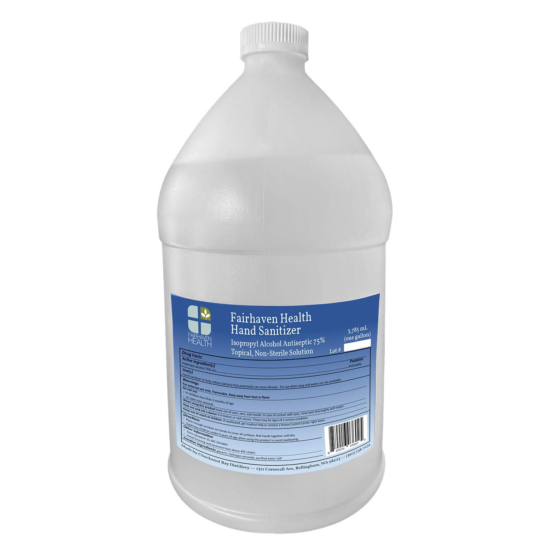 Fairhaven Health Liquid Hand Sanitizer - Isopropyl Alcohol 75% Topical Solution, 1-Gallon (128 Ounces)