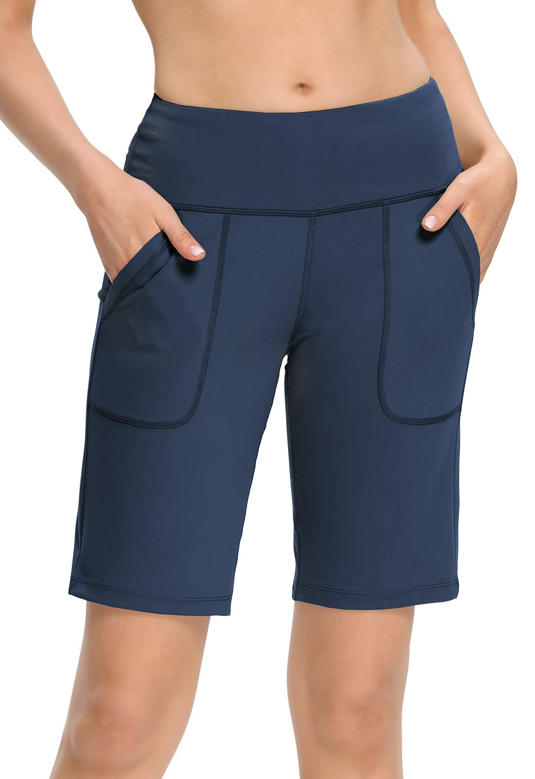 "MOCOLY Women's 10"" Yoga Workout Shorts Lounge Bermuda Shorts Loose Leg High Waist Athletic Training Running Shorts"