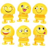 PROLOSO Spring Emoji Shaking Head Dolls Dancing Nodding Toys Theme Party Favors Car Dashboard Table Decoration (6 pcs)