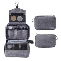 Travel Hanging Toiletry Bag for Women and Men, YLQP Small Compact Waterproof Makeup Organizer Case Cosmetic Bag Pouch with Hook (Gray)