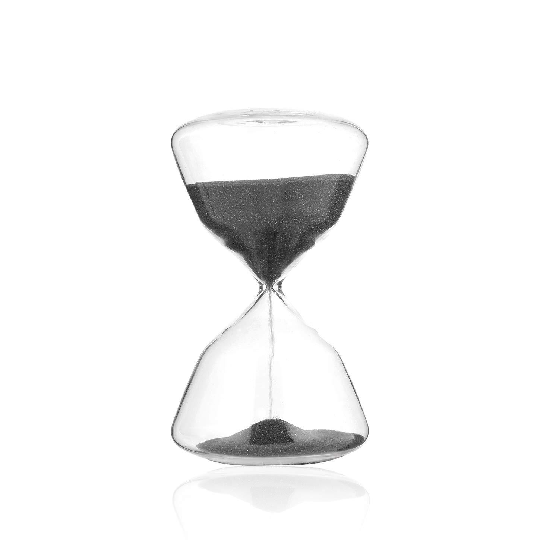 SWISSELITE BILOBA Sand Timer Hourglass - Inspired Glass for Home, Desk, Office Decor(4.5 Inch,15 Minutes(+/- 360 seconds),Black)