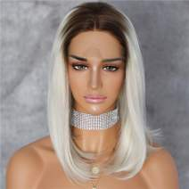 Sapphirewigs Two Tone 14''Short Bob Type Brown Ombre Blonde Daily Makeup Synthetic Lace Front Wedding Party Wigs For Woman