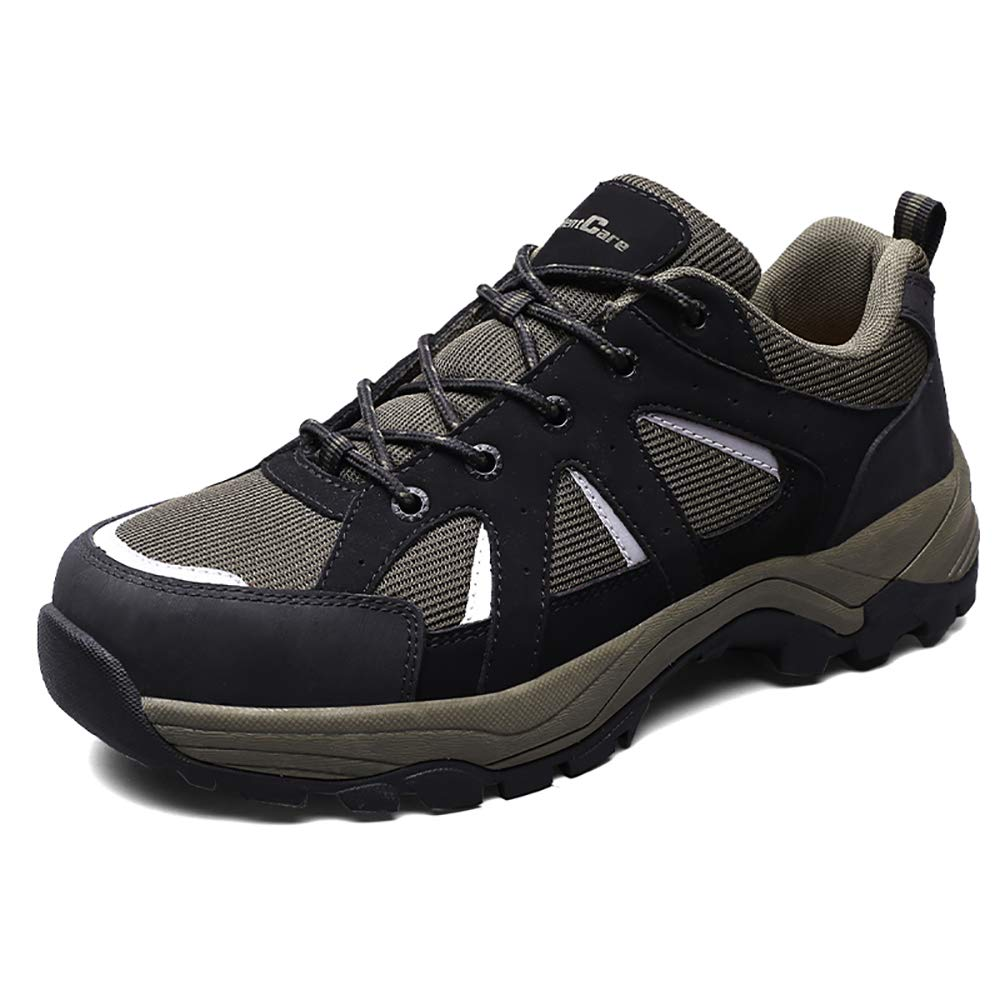 SILENTCARE Steel Toe Shoes Men, Safety Work Reflective Strip Puncture Proof Footwear Breathable Industrial Construction Shoes