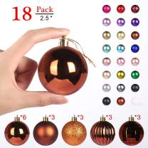 """GameXcel Christmas Balls Ornaments for Xmas Tree - Shatterproof Christmas Tree Decorations Large Hanging Ball Orange Bronze 2.5"""" x 18 Pack"""