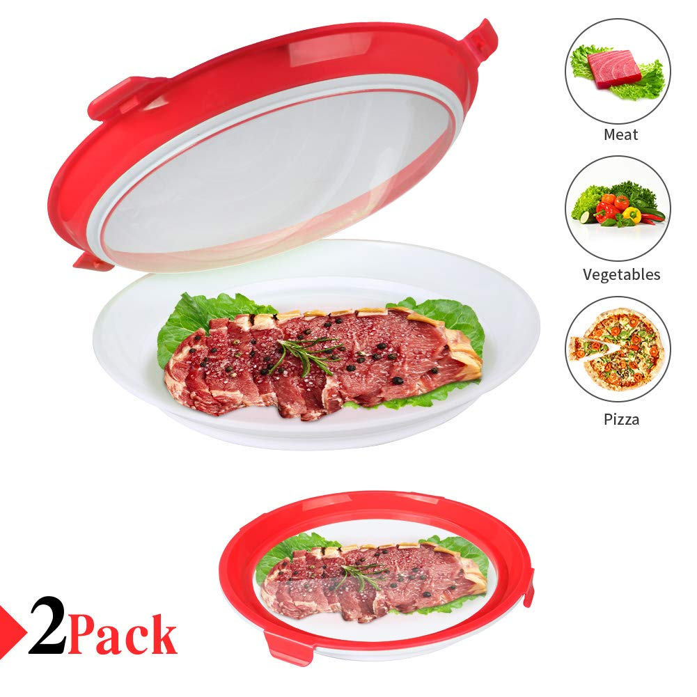 Food Preservation Tray Vacuum Seal, Healthy Fresh Tray Food Storage Container With Elastic Lids, Kitchen Refrigerator Storage Container Set Reusable for Long Food Preservation 2Pcs (Red, 2 PCS)
