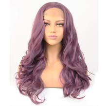 PAFOWO Premium Long Wave Lace Front Wigs, Realistic Look Long Purple Synthetic Wigs for Women, Pre Plucked with Natural Hairline and Baby Hair (22 IN)