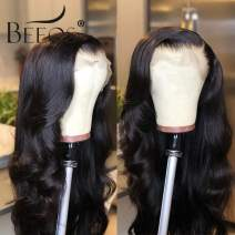 BEEOS 9A 360 Lace Frontal Wigs with Baby Hair, 150% Density Pre Plucked and Bleached Knots Natural Hairline Body Wave Free Part Brazilian Hair Wigs