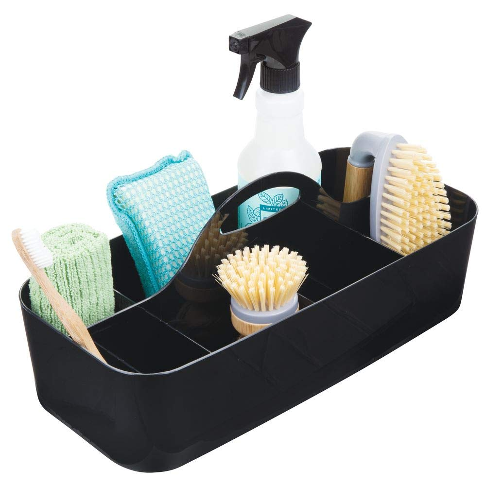 mDesign Plastic Portable Storage Organizer Caddy Tote, Divided Bin, Handle for Bathroom, Kitchen Laundry/Utility Closet - Holds Cleaning Supplies, Window Cleaner, Dust Cloths - Large - Black
