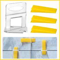 """Tile Leveling System Tiles Leveler Spacers 1/8"""" Kit Include 300 pcs Tile Spacers Clips and 100 pcs Reusable Wedges,Lippage Free Tile and Stone Installation for PRO and DIY"""