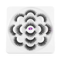 7 Pairs 3D Mink Eyelashes Faux 7 Style Mixed False Eyelashes Fluffy Fake Eyelashes Dramatic Look Natural Soft Long Eye Extension Makeup 100% Handmade Thick (04)