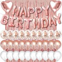 PartyForever Rose Gold Happy Birthday Balloons Banner 16inch Tall Set for Her Birthday Party Decorations and Supplies Kit for Women and Girls with Confetti Balloons and Foil Fringe Curtain
