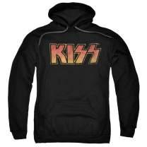 KISS Rock Music Distressed Vintage Logo Pull-Over Hoodie Sweatshirt & Stickers