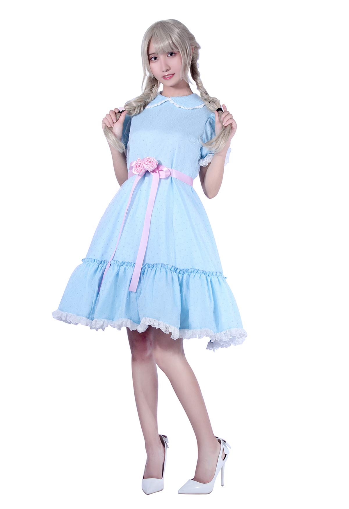 Nuoqi Women's Girls Sweet Lolita Dress Blue Cotton Bow Puff Skirts Doll Collar Short Sleeve Costumes