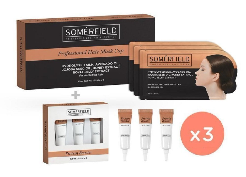 Somerfield Advanced Repair & Maintenance Hair Mask Kit | To Strengthen & Restore Damaged Hair | For Natural Color Hair Types | Includes 9 Pre-Filled Hair Masks & 9 Protein Booster Tubes