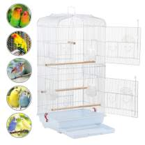 Yaheetech 36-inch Medium Size Quaker Parrot Bird Cage Cockatiel Indian Ring Neck Sun Parakeet Green Cheek Conures Lovebird Budgie Canary Finch Parrotlet Bird Cage, White