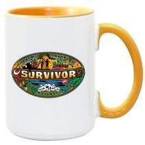 Survivor Mashup Logo Two Tone 15 oz Mug - Yellow