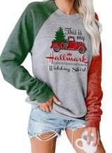Poboola Women's Christmas Movies Watching Shirt Sweatshirt Xmas Long Sleeve Tops
