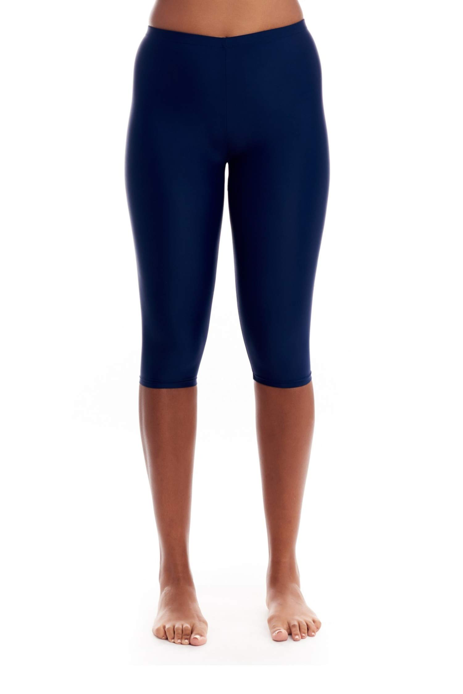 COVER GIRL Womens Swimwear Straight and Curvy High Waisted Swim Capri Leggings with Tummy Control and Chlorine Resistant