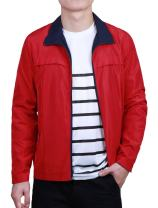 uxcell Men Colorblock Long Sleeve Full Zip Sport Track Athletic Golf Jacket