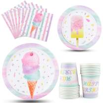 WERNNSAI Ice Cream Plates Napkins and Cups - Ice Cream and Popsicle Theme Party Supplies for Girls Birthday Disposable Tableware Dessert Plates Luncheon Napkins Serves 16 Guests 64PCS