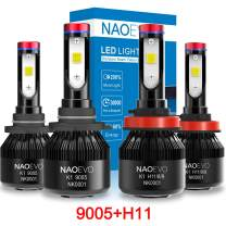 9005/HB3 and H11/H9/H8 LED Headlight Bulbs kit, High/Low Beam Combo (2 Sets) 60W 7600LM 6000K Cool White, NAOEVO Adjustable Beam Conversion Kit