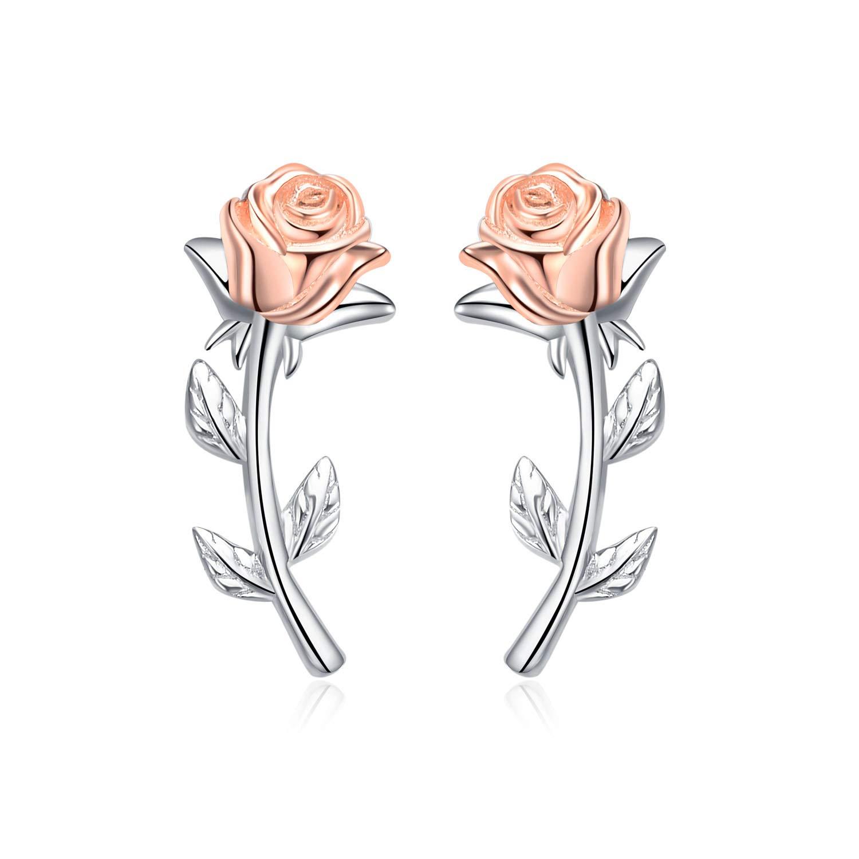 YFN 925 Sterling Silver Rose Flower Stud Earrings Ear Crawler Climber Earrings for Women Jewelry
