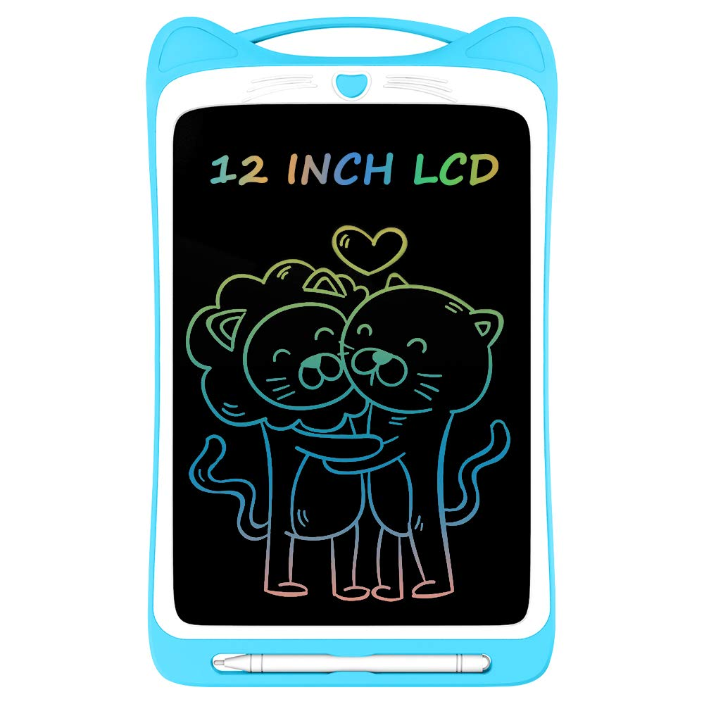 Ksera LCD Writing Tablet for Kids, 12 Inch Colorful Electronic Writing Drawing Doodle Board Tablet Digital Ewriter Pad with Screen Lock Gift for Kids Home School Handwriting Pad Memo Notebook (Blue)