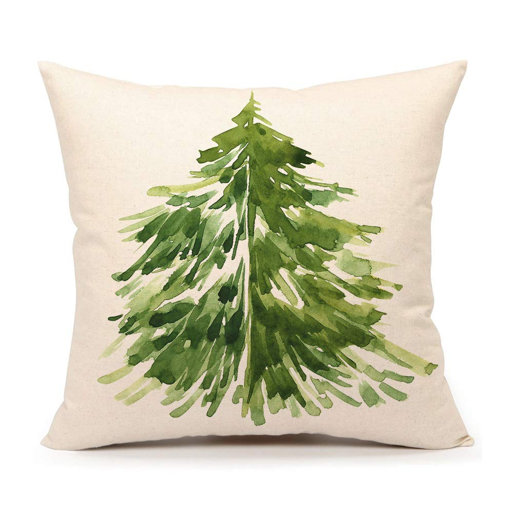 """4TH Emotion Watercolor Christmas Tree Throw Pillow Cover Cushion Case for Sofa Couch 18"""" x 18"""" Inch Cotton Linen #B"""