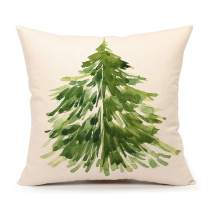 "4TH Emotion Watercolor Christmas Tree Throw Pillow Cover Cushion Case for Sofa Couch 18"" x 18"" Inch Cotton Linen #B"