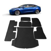 #1 Tesla Model 3 Floor & Trunk Mats - All Weather Mat Fits 2017 - 2020 (Complete Mat Set Floor, Trunk, Frunk, Storage) Accessories - Heavy Duty & Flexible Eco-Friendly All Season Latex Material by HEA