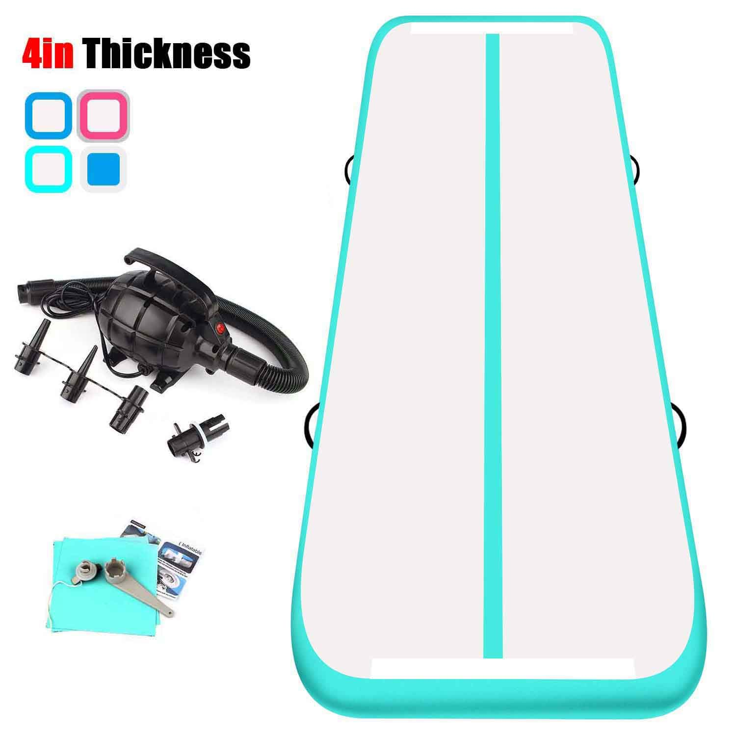 KIKILIVE 23ft Air TrackTumbling Mat,4 inch Inflatable Gymnastics Airtrack Mat, Air Floor Mat with Electric Air Pump for Training/Cheerleading