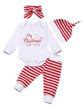 Baby Christmas Outfit Newborn Girl Boy My First Christmas Romper Striped Pants with Headband Hat Clothes Set