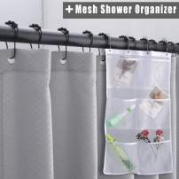 WdFour Premium Heavy Duty Waffle Fabric Shower Curtains for Bathroom with 6 Pockets Mesh Shower Organizer, Metal Grommets Machine Washable Water Repellent Standard Shower Curtain, 72 x 72,Light Grey