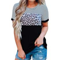 Aurgelmir Womens Short Sleeve Leopard Print T Shirts Summer Cute Color Block Striped Casual Tee Tops