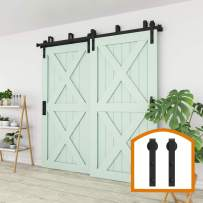 ZEKOO 15FT Bypass Sliding Barn Door Hardware Steel Track for Double Wooden Doors Closet Kitchen Kit Low Ceiling