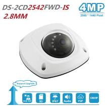 4MP IP POE Dome Camera with Audio Alarm H.264+ Network Mini Dome IP Camera Day/Night ONVIF Compliant Indoor Outdoor IP67 Weatherproof DS-2CD2542FWD-IS 2.8MM