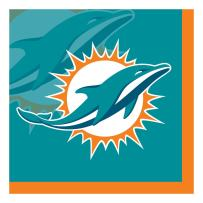 Creative Converting Officially Licensed NFL Paper Beverage Napkins, 192-Count, Miami Dolphins
