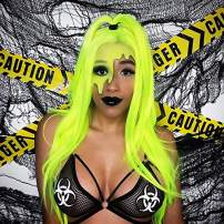 Sapphirewigs Neon Yellow Silky Soft Cosplay Blogger Celebrity Queen Makeup Party Synthetic Lace Front Daily Wigs