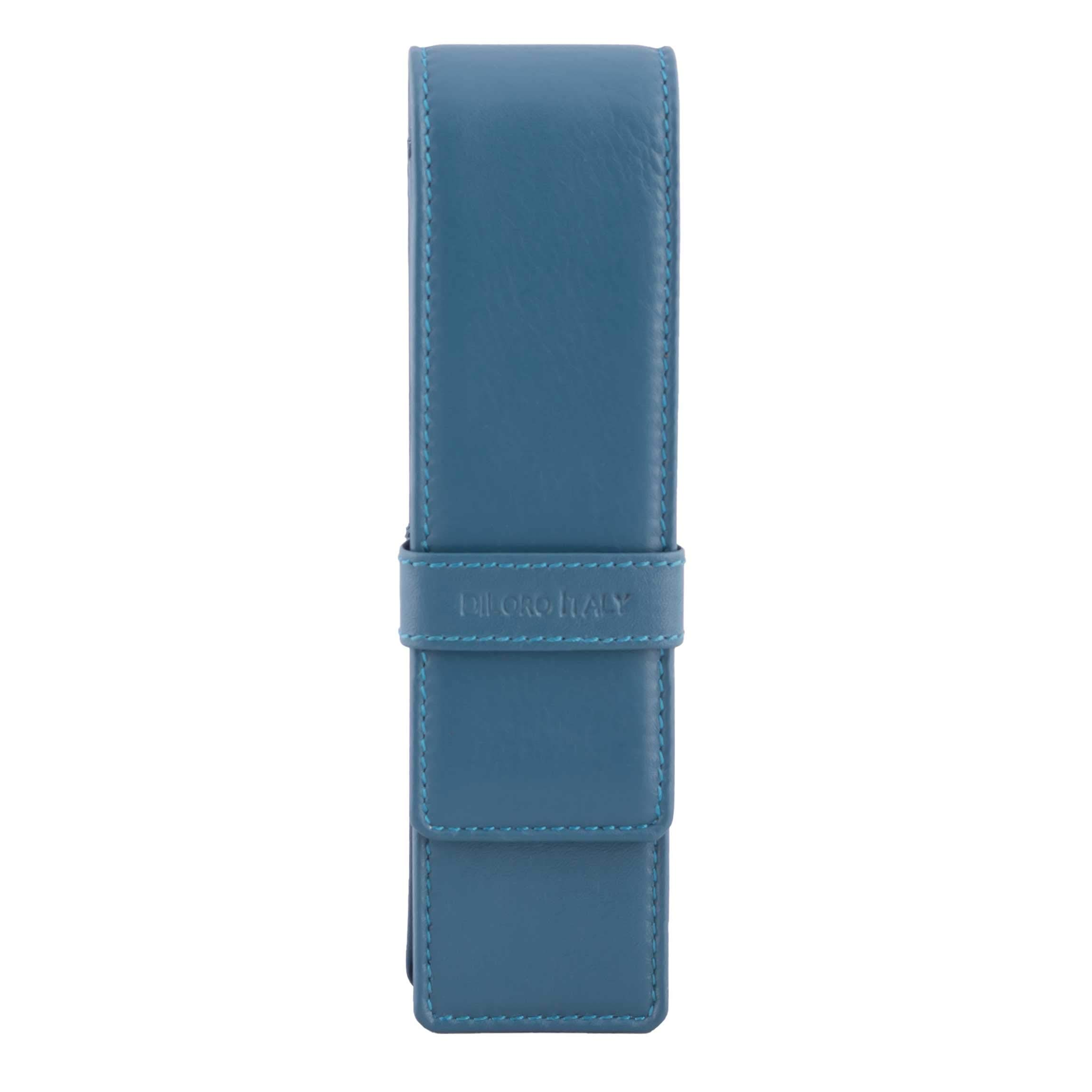 DiLoro Leather Pen Case Pouch Holder for Two Fountain Pens Ballpoint Rollerball Pen or Pencils (Sololio Blue)