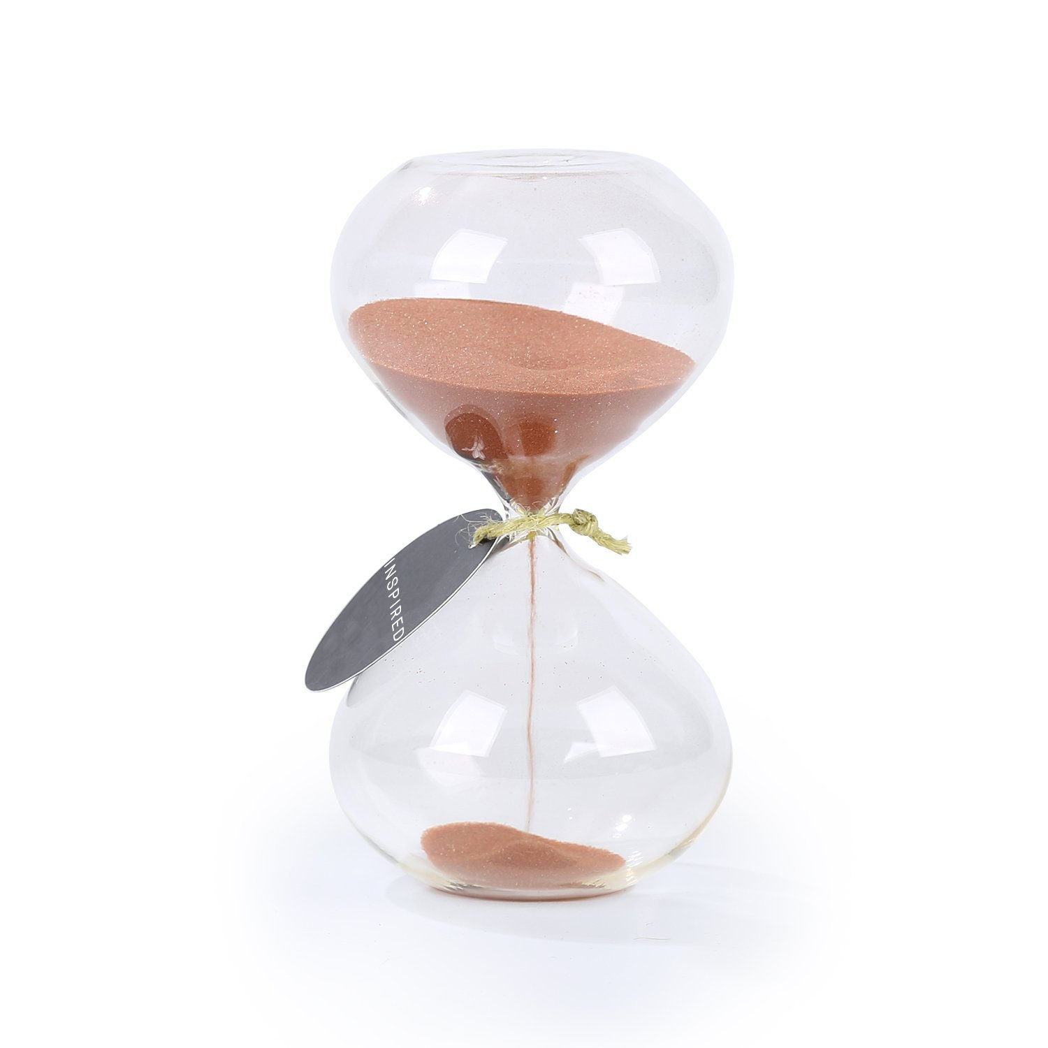 SWISSELITE Biloba 4.5 Inch Puff Sand Timer/Hourglass Sand Timer 5 Minutes - Copper Color Sand - Inspired Glass/Home, Desk, Office Decor