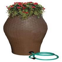 Emsco Group 2258-1 Rescue 60-Gallon Basketweave Urn Includes Planter, Water Diverter, Outlet Hose Brown Wicker Rain Barrel