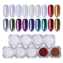 BORN PRETTY 9 Boxes Pearl Powder Nail Mirror Effect Colorful Nails Art Glitter Iridescent Metallic Manicuring Pigment 1G