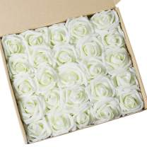 N&T NIETING Roses Artificial Flowers, 25pcs Real Touch Artificial Foam Roses Decoration DIY for Wedding Bridesmaid Bridal Bouquets Centerpieces, Party Decoration, Home Display (Ivory)