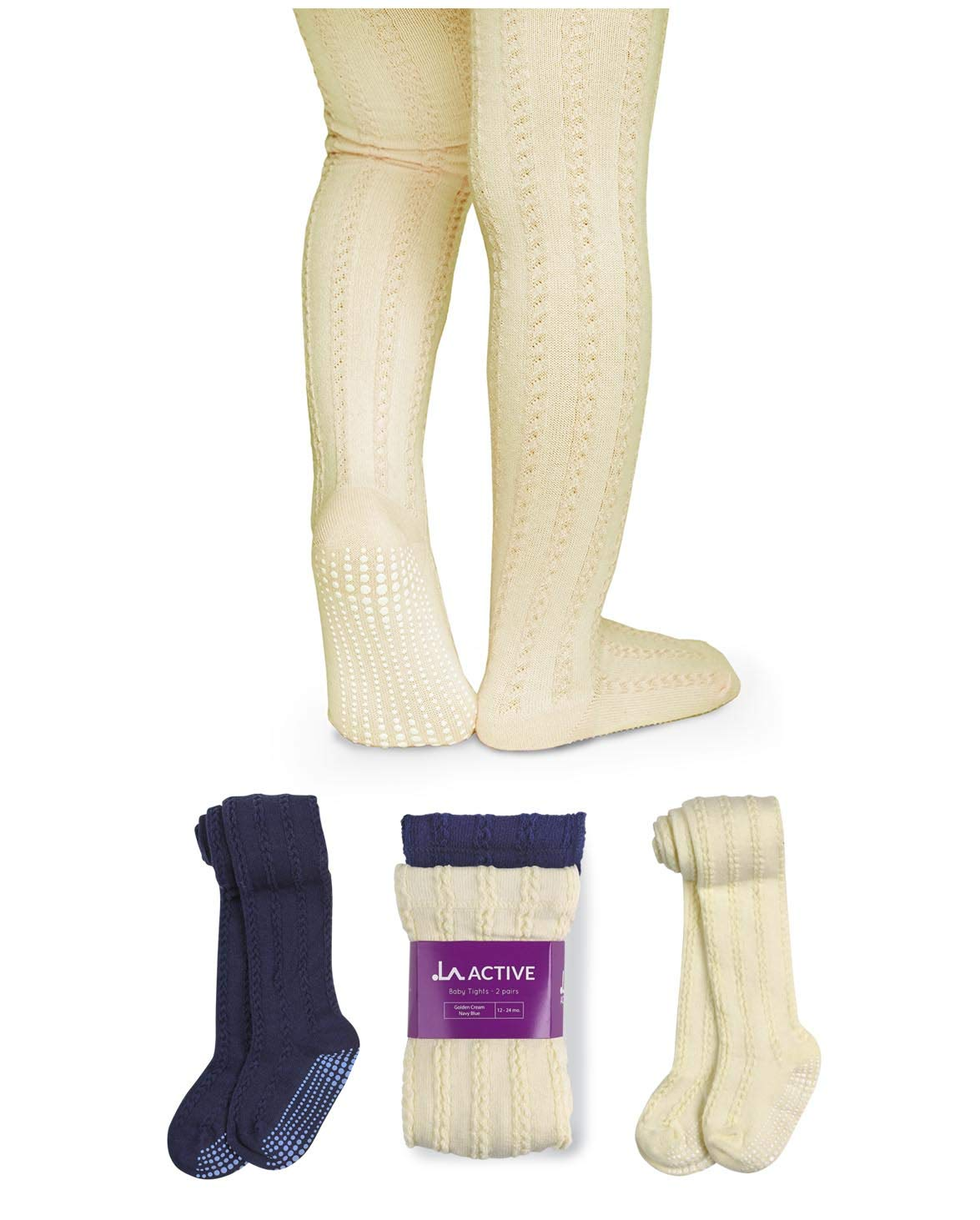 LA Active Baby Tights - 2 Pairs - Non Skid/Slip Cable Knit (Cream & Navy, 2T-3T)
