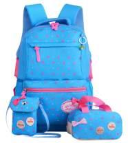 JiaYou Girls Cute Lunch Bag Purse/Pencil Bag School Backpack 3 Sets(24L,2# Blue)