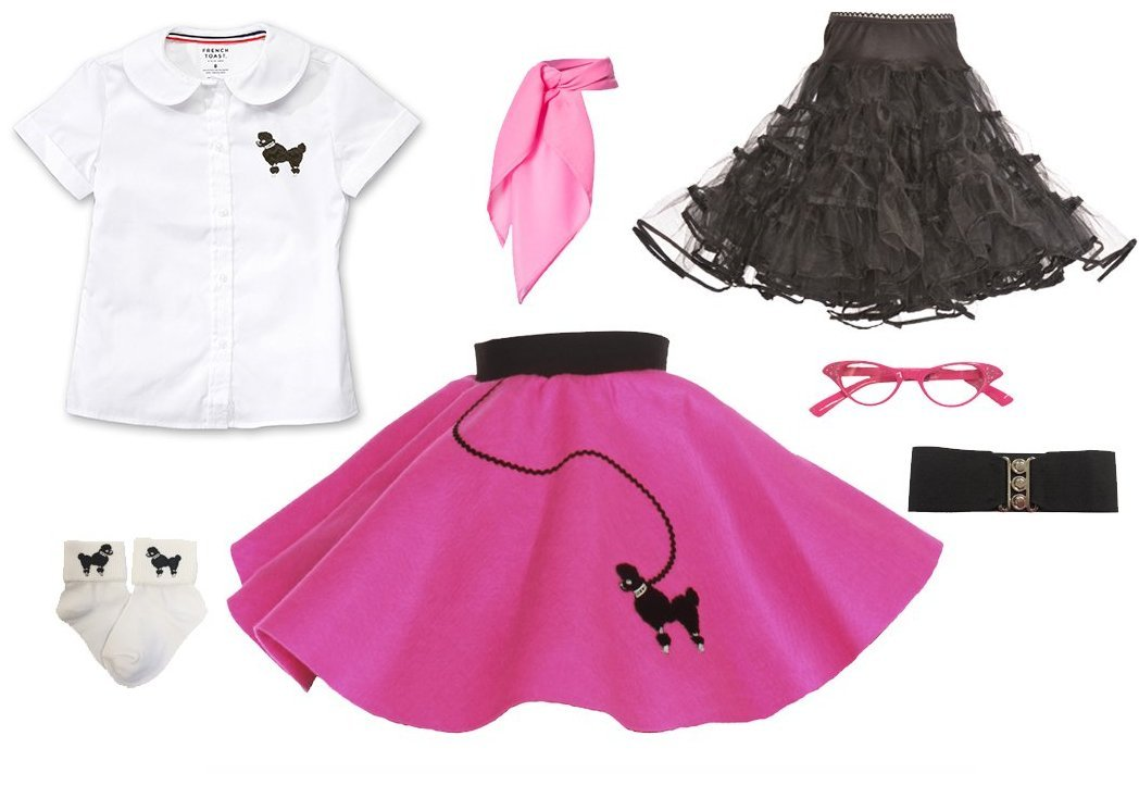 Complete 1950s 7 Piece Toddler Poodle Skirt Outfit with Accessories, Halloween or Pretend Play Costume Set