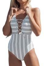 CUPSHE Women's Black White Crisscross Lace Up One Piece Swimsuit