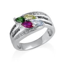 MyNameNecklace Engraved Mothers Ring with Swarovski Birthstones - Personalized & Custom Made Gift for Her