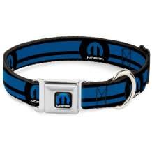 "Buckle-Down Seatbelt Buckle Dog Collar - MOPAR Logo/Stripe Black/Blue - 1"" Wide - Fits 11-17"" Neck - Medium"