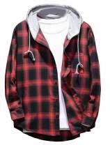 Minibee Men's Plaid Hooded Shirts Casual Long Sleeve Drawstring Shirt Jackets